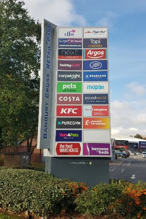 Totem sign at Banbury Cross Retail Park