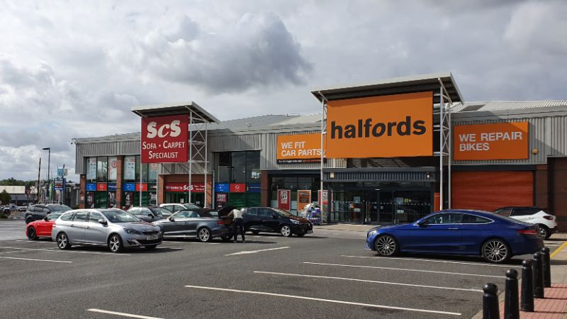 SCS and Halfords at Pipps Hill Retail Park