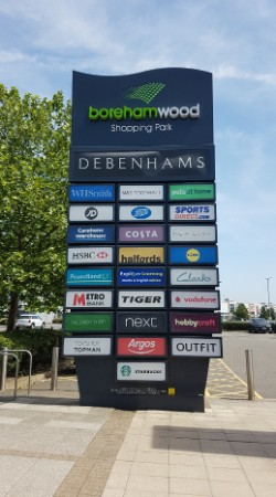 Borehamwood Shopping Park totem sign