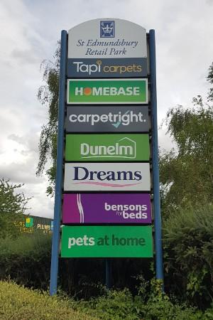 St Edmundsbury Retail Park totem sign