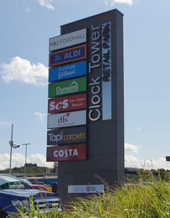 Chelmsford Clock Tower Retail Park sign