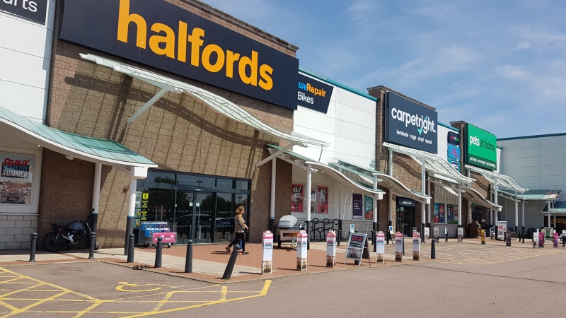 Halfords and Carpetright stores
