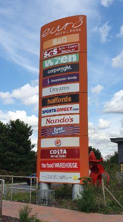 Euro Retail Park, Ipswich sign