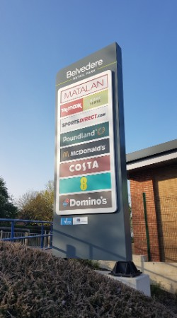 Belvedere Retail Park totem sign