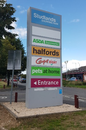 Studlands Retail Park totem sign