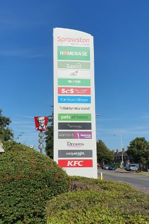 Sprowston Retail Park totem sign