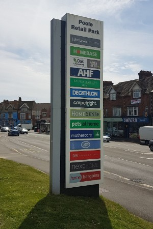 Totem sign at Poole Retail Park