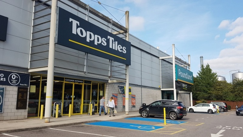 Topps Tiles and Poundland stores at Shawlands Retail Park, Sudbury