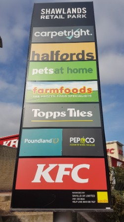 Totem sign at Shawlands Retail Park, Sudbury