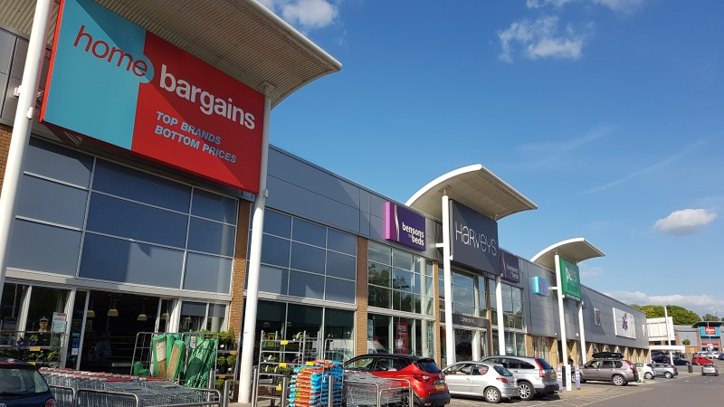 Home Bargains and Harveys stores at Wellington Retail Park