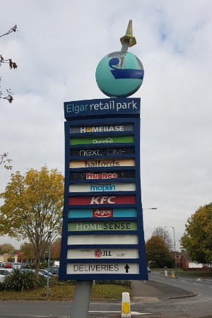 Elgar Retail Park signage